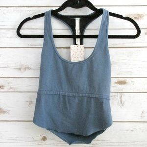 Free People Blue Ribbed Cropped Athletic Bra Top